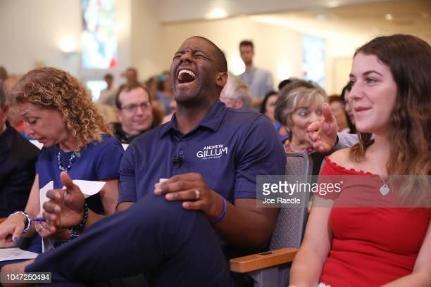Florida Democratic gubernatorial nominee Andrew Gillum laughs after speaking with an attendee at a political event at the Century Pines Jewish Center...