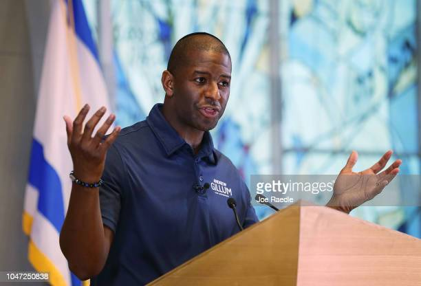 Florida Democratic gubernatorial nominee Andrew Gillum speaks at a political event at the Century Pines Jewish Center on October 18 2018 in Pembroke...