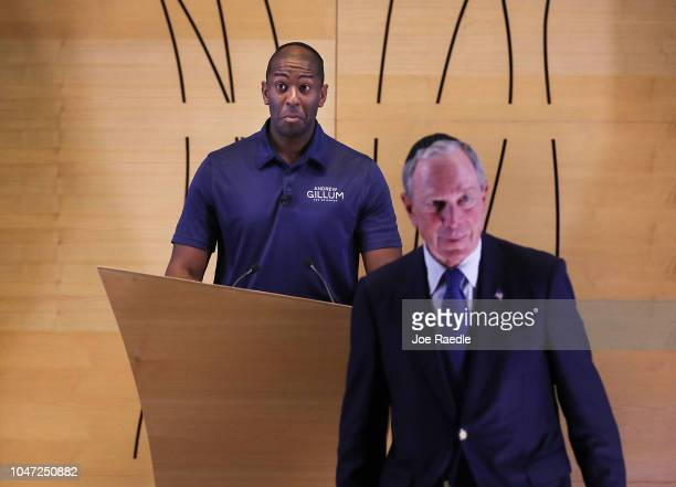 Florida Democratic gubernatorial nominee Andrew Gillum takes the podium after being introduced by former New York City Mayor Michael Bloomberg at a...