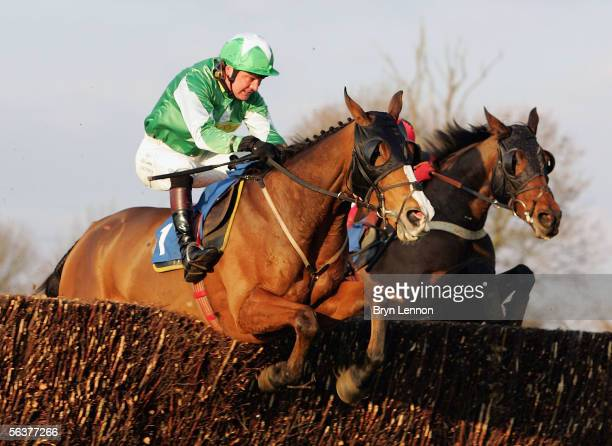 Florida Dream ridden by Anthony Evans is seen in action during the Racing UK Novices' Handicap Steeple Chase at Huntingdon Race Course on December 8...