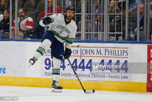 Florida Everblades defenseman Ben Masella celebrates a goal during the game between the Florida Everblades and the Jacksonville Icemen on April 20...