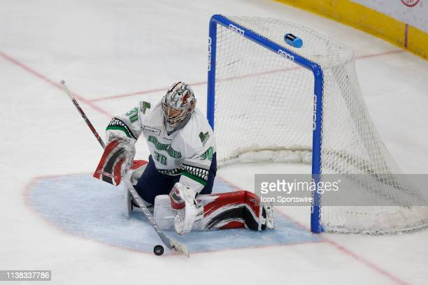 Florida Everblades goaltender Callum Booth makes a save during the game between the Florida Everblades and the Jacksonville Icemen on April 20 2018...