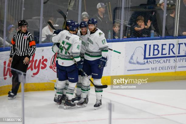 Florida Everblades players celebrate a goal during the game between the Florida Everblades and the Jacksonville Icemen on April 20 2018 at the Vystar...