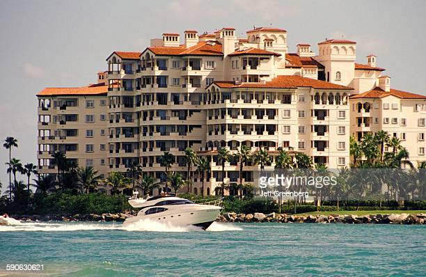 Florida Fisher Island Biscayne Bay Luxury Condominiums Seen From South Pointe Park
