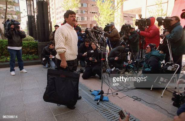 Florida fisherman Sam Ciancio speaks to the press 09 April outside the offices of Gregory Craig lawyer for Juan Miguel Gonzalez Ciancio one of the...