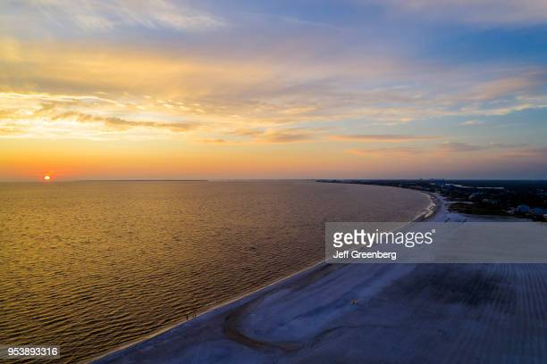 Florida Fort Ft Myers Beach Estero Island Gulf of Mexico aerial of beach at sunset