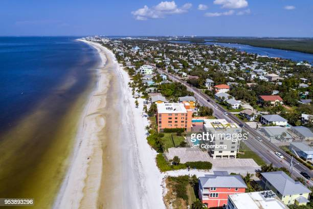Florida Fort Myers Beach Estero Island aerial view above Matanzas Pass with beach and ocean