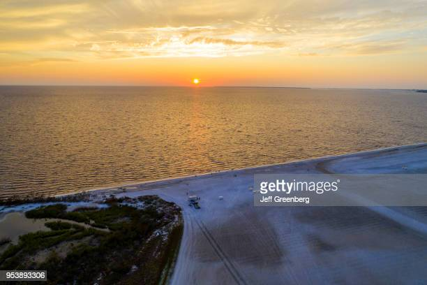 Florida Fort Myers Beach Estero Island Gulf of Mexico aerial view beach and ocean at sunset