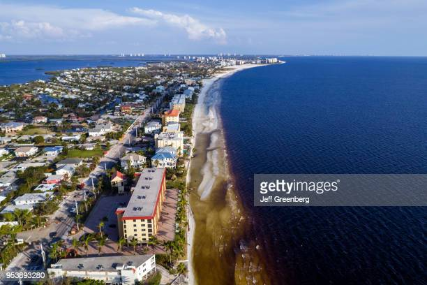 Florida, Fort Myers Beach, Estero Island, Ostego Bay, aerial view residential apartment buildings.