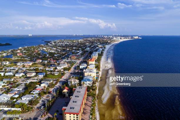 Florida Fort Myers Beach Estero Island Ostego Bay aerial view residential apartment buildings