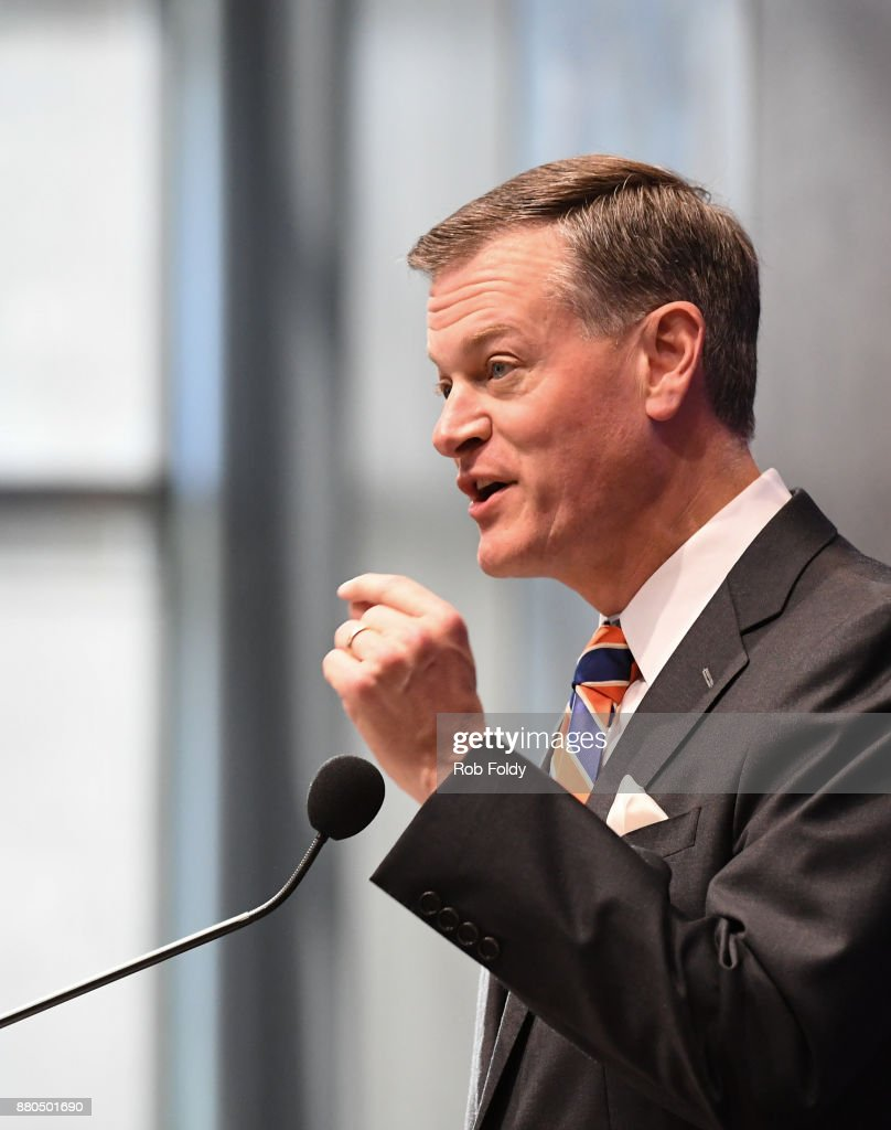 Florida Gators athletic director Scott Stricklin speaks during an introductory press conference for new football head coach Dan Mullen at the Bill Heavener football complex on November 27, 2017 in Gainesville, Florida.