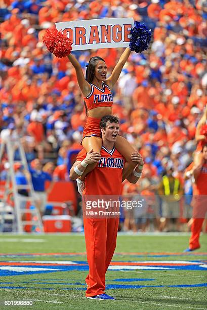 Florida Gators cheerleader performs during a game against the Kentucky Wildcats at Ben Hill Griffin Stadium on September 10, 2016 in Gainesville,...