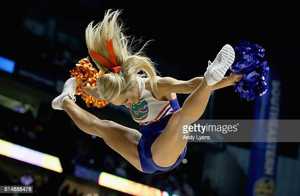 Florida Gators cheerleader performs in the game against the during the quarterfinals of the SEC Basketball Tournament at Bridgestone Arena on March...