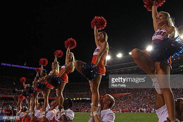 Florida Gators cheerleaders during the game against the Mississippi Rebels on October 3 2015 in Gainesville Florida