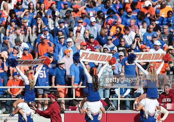 Florida Gators cheerleaders hold signs for the crowd during an NCAA football game between the Florida Gators and the Arkansas Razorbacks at Donald W...