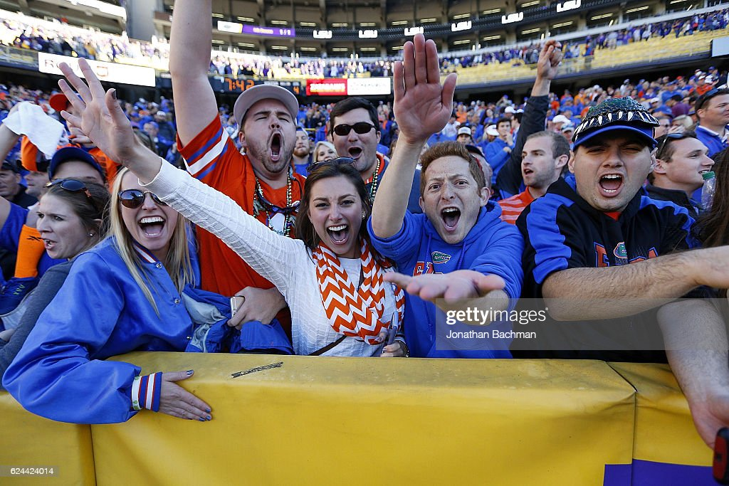 Florida Gators fans celebrate after a game against the LSU Tigers at Tiger Stadium on November 19, 2016 in Baton Rouge, Louisiana. Florida won 16-10.