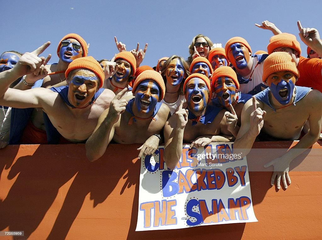 Florida Gators fans shout during a game against the Alabama Crimson Tide at Ben Hill Griffin Stadium at Florida Field September 30, 2006 in Gainsville, Florida.