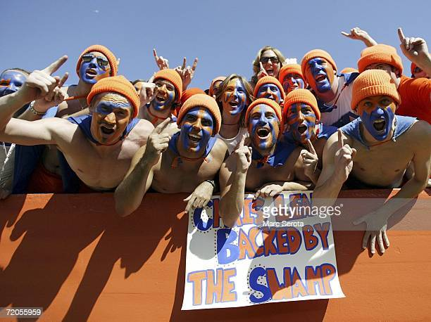 Florida Gators fans shout during a game against the Alabama Crimson Tide at Ben Hill Griffin Stadium at Florida Field September 30 2006 in Gainsville...