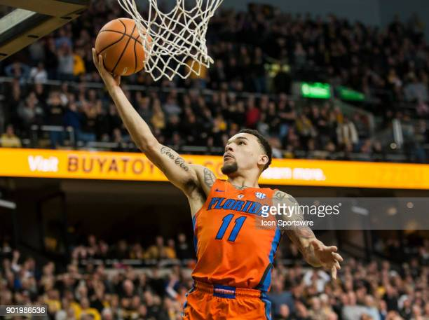 Florida Gators guard Chris Chiozza makes the game winning layup after stealing the ball with seconds to spare during the SEC regular season game...