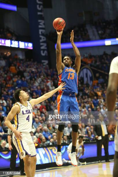 Florida Gators guard Kevarrius Hayes shoots a 3pointer during a Southeastern Conference Tournament game between the Florida Gators and LSU Tigers...