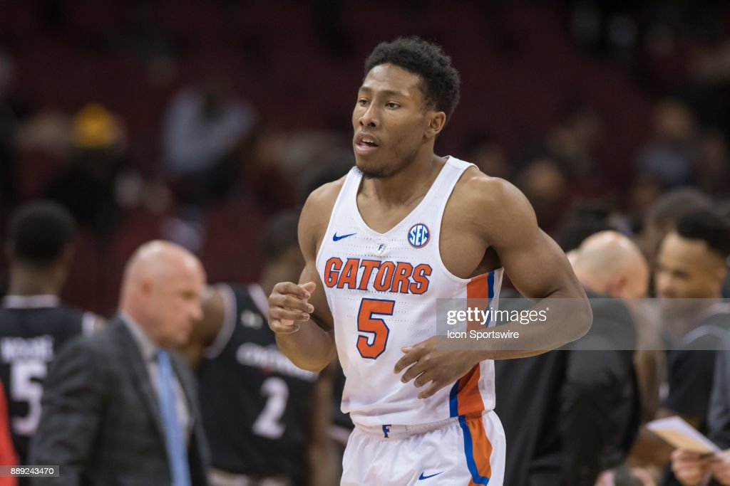 Florida Gators guard KeVaughn Allen (5) during the second half of the Never Forget Tribute Classic college basketball game between the Cincinnati Bearcats and the Florida Gators on December 9, 2017, at the Prudential Center in Newark, NJ.