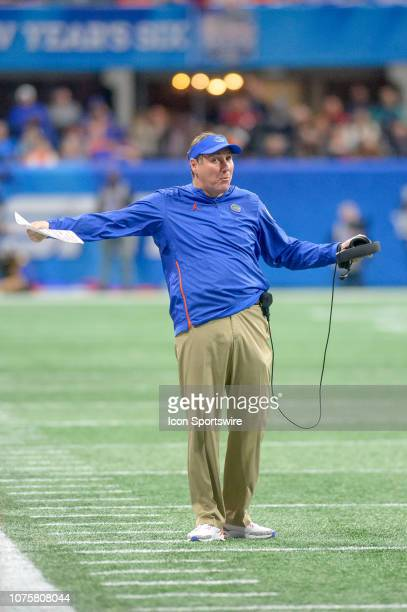 Florida Gators head coach Dan Mullen during the ChickfilA Peach Bowl between the Michigan Wolverines and the Florida Gators on December 29 2018 at...