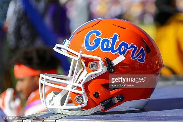 Florida Gators helmet on the sidelines during the game between the Florida Gators and the LSU Tigers on November 19 at Tiger Stadium in Baton Rouge LA