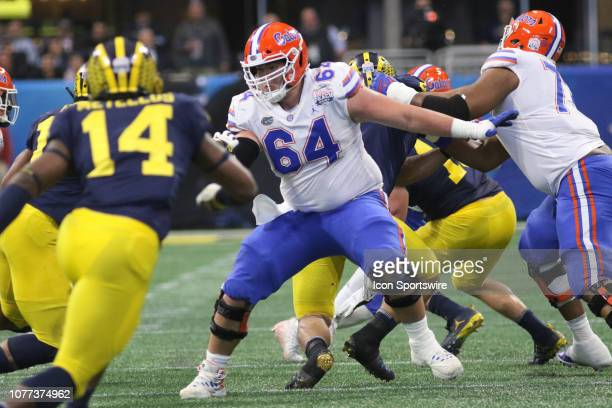 Florida Gators offensive lineman Tyler Jordan during the Peach Bowl between the Florida Gators and the Michigan Wolverines on December 29 2018 at...
