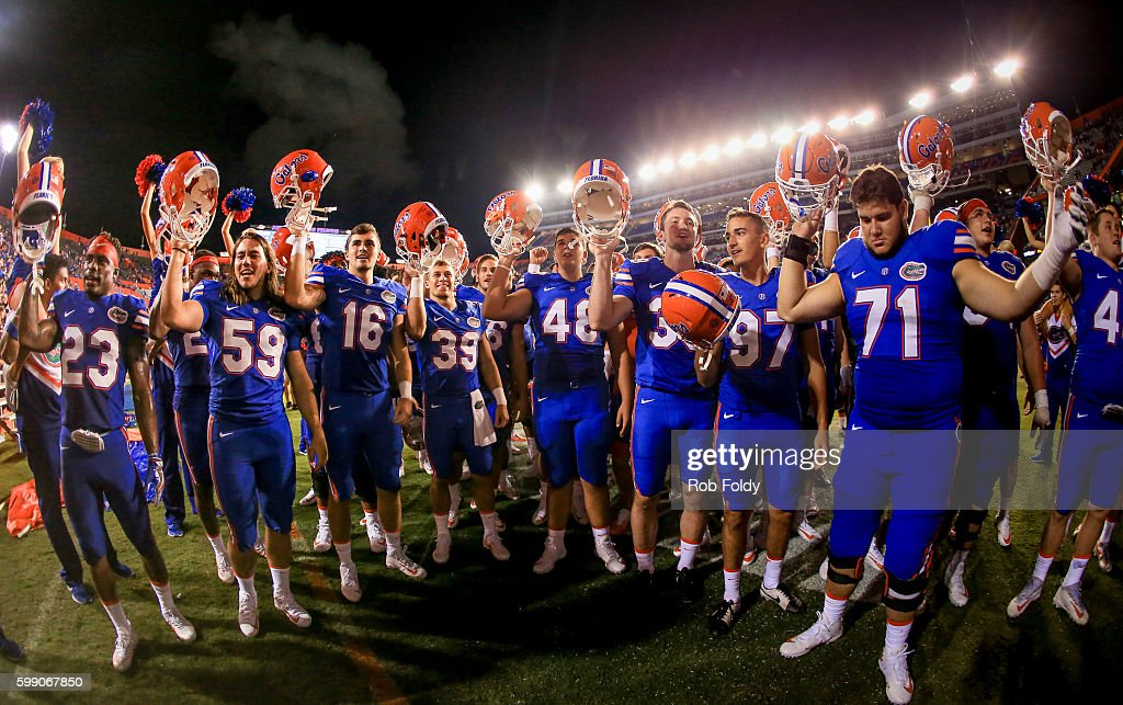 Florida Gators players celebrate after the game against the Massachusetts Minutemen at Ben Hill Griffin Stadium on September 3, 2016 in Gainesville, Florida.