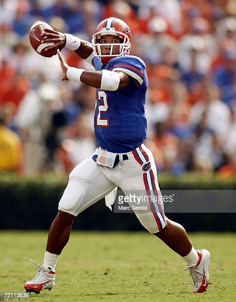 Florida Gators quarterback Chris Leak drops back to pass against the Louisiana State Tigers at Ben Hill Griffin Stadium on October 7 2006 in...