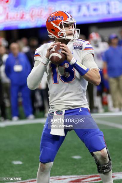 Florida Gators quarterback Feleipe Franks during the Peach Bowl between the Florida Gators and the Michigan Wolverines on December 29 2018 at...