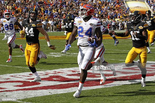 Florida Gators running back Mark Thompson makes his way toward the end zone for a 85yard touchdown reception n the 2nd quarter of the 2017 Outback...