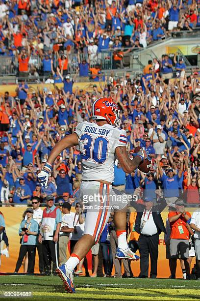 Florida Gators tight end DeAndre Goolsby celebrates after catching a pass in the end zone for a touchdown as the Gator fans stand in unison to cheer...