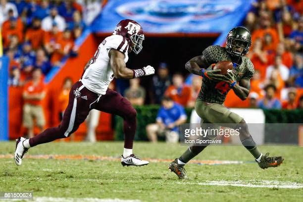 Florida Gators wide receiver Brandon Powell catches a pass during the game between the Texas AM Aggies and the Florida Gators on October 14 2017 at...