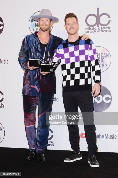 Florida Georgia Line poses in the press room during the 2018 American Music Awards at Microsoft Theater on October 9 2018 in Los Angeles California