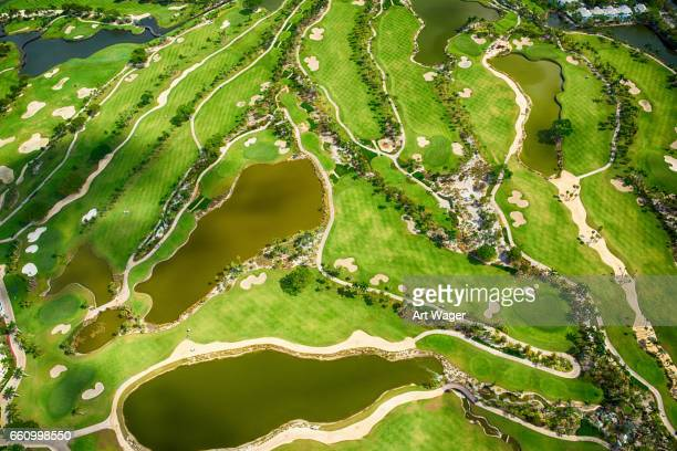 florida golf course aerial view - fort lauderdale stock pictures, royalty-free photos & images