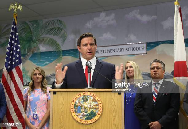 Florida Gov Ron DeSantis announces that he wants to raise the minimum starting salary for teachers during a press conference held at Bayview...