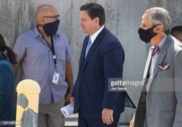 Florida Gov. Ron DeSantis arrives to speak to the media about the cruise industry during a press conference at PortMiami on April 08, 2021 in Miami,...