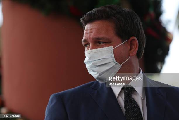 Florida Gov. Ron DeSantis attends a press conference where he spoke about the Pfizer-BioNtech COVID-19 vaccine at the John Knox Village Continuing...