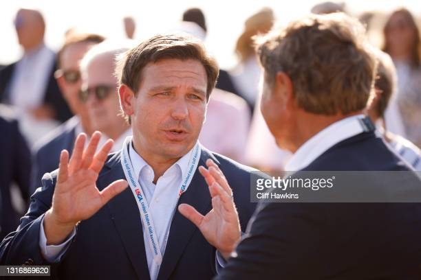 Florida Gov. Ron DeSantis attends the flag raising ceremony prior to The Walker Cup at Seminole Golf Club on May 07, 2021 in Juno Beach, Florida.