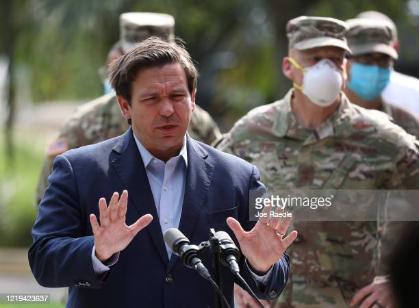 Florida Gov. Ron DeSantis gives updates about the state's response to the coronavirus pandemic during a press conference on April 17, 2020 in Fort...