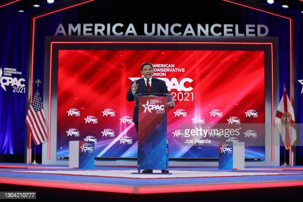 Florida Gov. Ron DeSantis speaks at the opening of the Conservative Political Action Conference at the Hyatt Regency on February 26, 2021 in Orlando,...