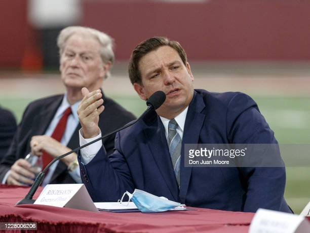 Florida Gov. Ron DeSantis speaks during a collegiate athletics roundtable about fall sports at the Albert J. Dunlap Athletic Training Facility on the...