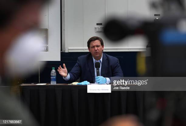 Florida Gov Ron DeSantis speaks during a press conference at the Miami Beach Convention Center on April 08 2020 in Miami Beach Florida Gov DeSantis...