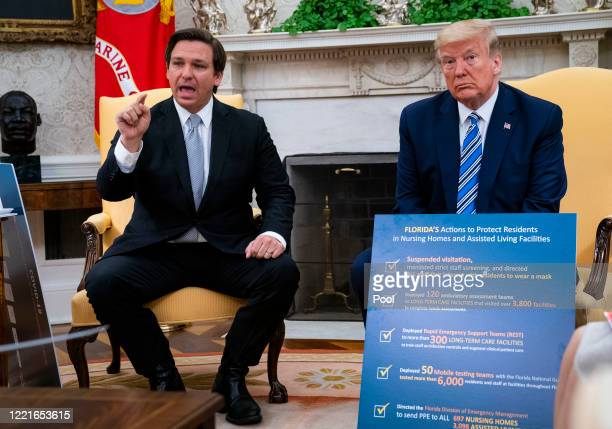 Florida Gov Ron DeSantis speaks while meeting with US President Donald Trump in the Oval Office of the White House on April 28 2020 in Washington DC...