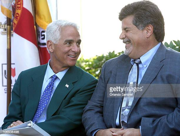 Florida Governor Charlie Crist left chats with Seminole Hard Rock Casino president John Fontana during a ceremony where the Seminole Tribe of Florida...