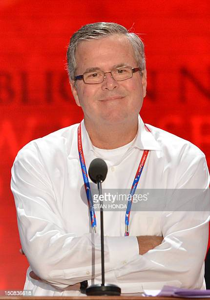Florida Governor Jeb Bush smiles during a sound check at the Tampa Bay Times Forum in Tampa Florida on August 27 2012 Due to tropical storm Isaac the...