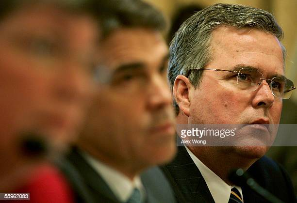 Florida Governor Jeb Bush Texas Governor Rick Perry and Arizona Governor Janet Napolitano during a hearing before the House Committee on Homeland...