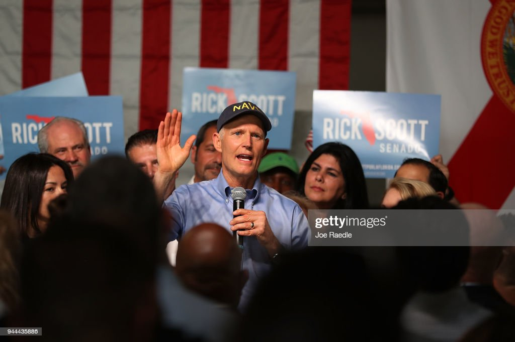 Florida GOP Senate Candidate Rick Scott Holds Campaign Rally In Hialeah