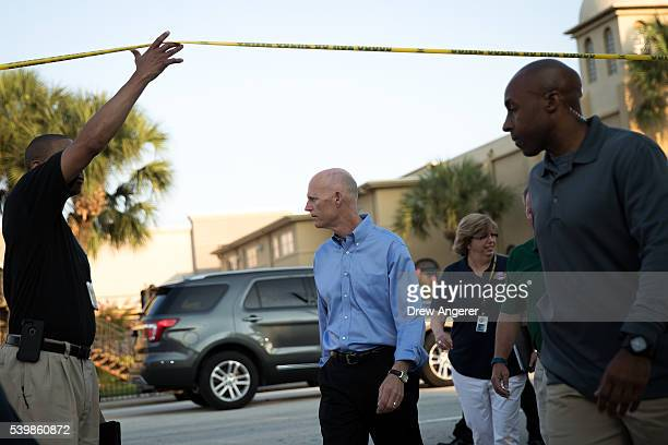 Florida Governor Rick Scott arrives for a press conference on South Orange Avenue down the street from Pulse Nightclub June 13 2016 in Orlando...